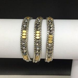 Stella & Dot Gold Gray Silver Beaded Luna Bracelet